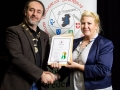 IPF President Michael O'Sullivan pictured presenting LIPF distinction to Stephanie Daly