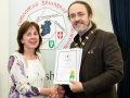 IPF President Michael O'Sullivan pictured presenting LIPF distinction to Anna Allen
