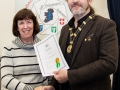 IPF President Michael O'Sullivan pictured presenting LIPF distinction to Nuala Lawlor