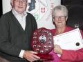 John Wilkinson presenting the Best Humour Trophy at AV2015 to Lilian Webb