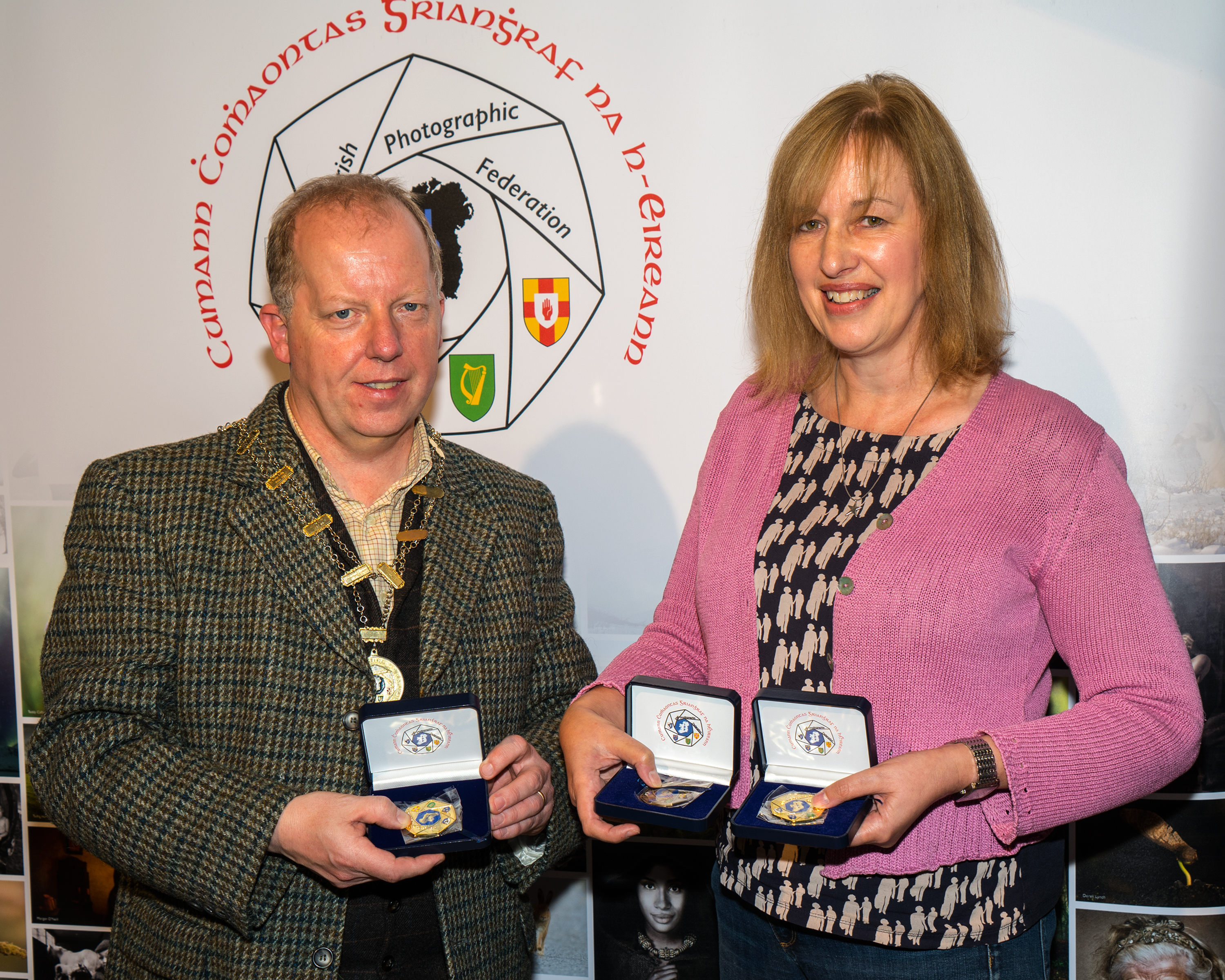 Dominic Reddin, FIPF, presenting 2 gold medals, a bronze medal to Judith Kimber, LIPF, DPAGB AV for sequence Safe