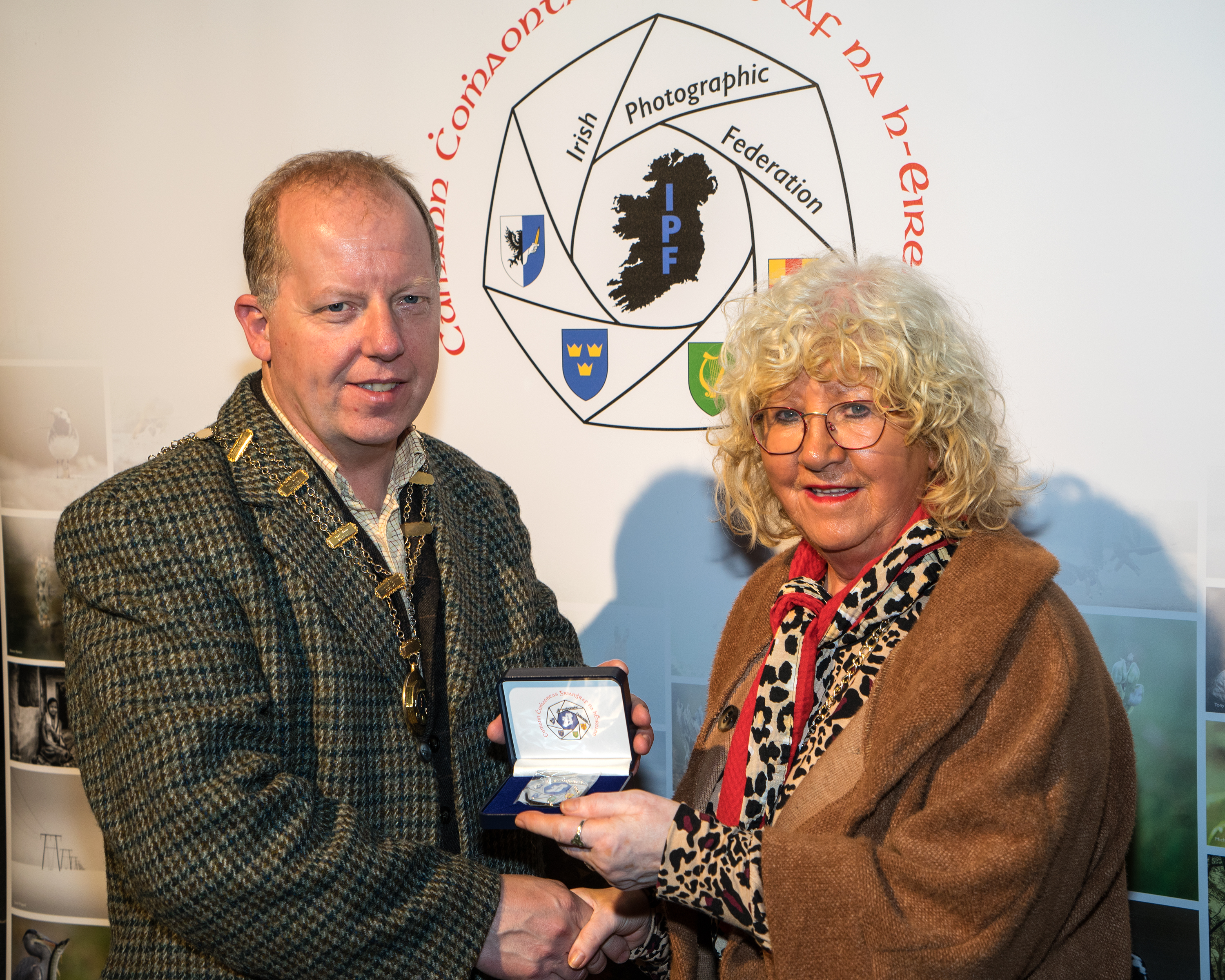Dominic Reddin, FIPF presenting the Silver Medal to Frances Bailey for Martin Tobin
