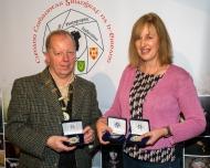 Dominic Reddin, FIPF, presenting 2 gold medals, a bronze medal to Judith Kimber, LIPF, DPAGB AV for sequence Safe