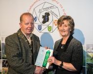 Dominic Reddin, FIPF presenting Maria O'Brien, LIPF with an Honourable Mention Certificate