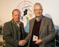 Dominic Reddin, FIPF presenting the Silver Medal to Pat Collins.