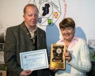 Dominic Reddin, FIPF presenting the Best Script Trophy to Rita Nolan, LIPF