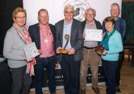 Dominic Reddin, President IPF, presenting Celbridge Camera Club members with the Best Sound Production & Best Club Trophies, October, 21st 2018 - Bridie Maughan, Brendan O'Sullivan, Dallas Camier, Rita Nolan & Pat Collins.
