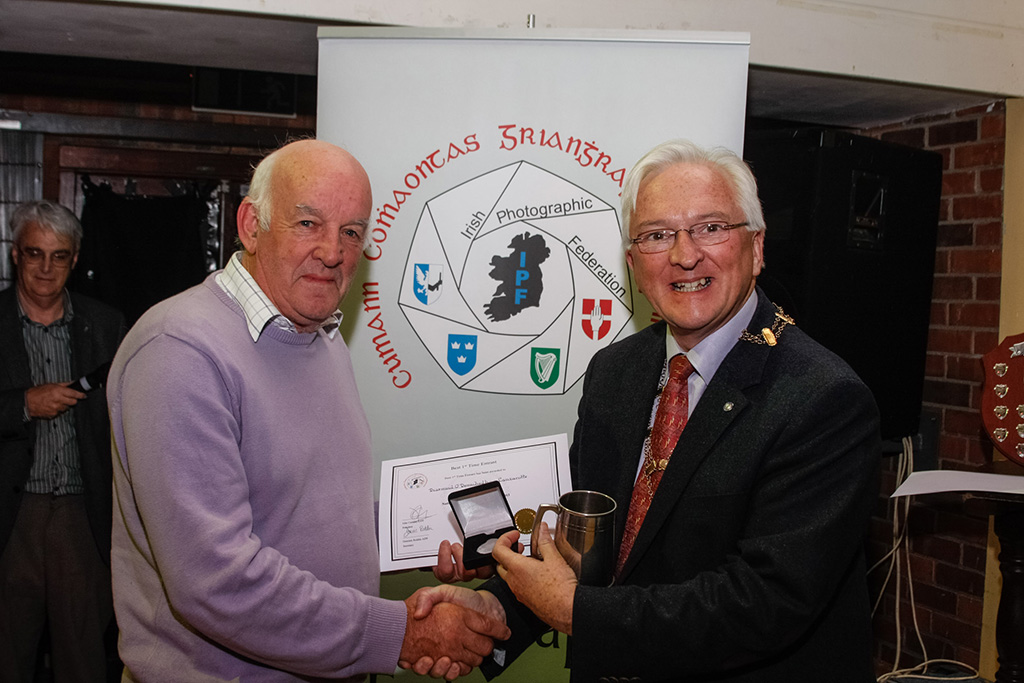 Diarmuid O'Donnchadha, winner of novice section and winner of best 1st time entrant award, pictured wtih IPF President John Cuddihy