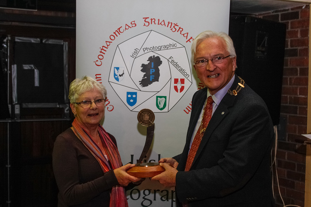 Pearl Walsh, winner of intermediate section and best sound production with IPF President John Cuddihy