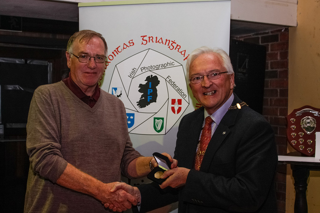 Raymond Hughes from Northern Ireland winner of bronze medal in International Competition with IPF President John Cuddihy