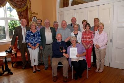 John Wilkinson, AIPF & Lilian Webb, AIPF with members of Enniscorthy Camera Club