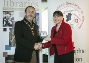 IPF President Michael O'Sullivan pictured presenting Judges' Medal to judge Vanessa Slawson