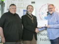 IPF President Michael O'Sullivan presenting 1st Place Monochrome Club Award to Catchlight Camera Club accepted by Ross McKelvey and Colin Ross