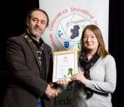 IPF President Michael O'Sullivan pictured presenting LIPF distinction to Adele Spencer