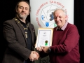 IPF President Michael O'Sullivan pictured presenting LIPF distinction to Leo Reddy