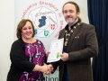 IPF President Michael O'Sullivan pictured presenting LIPF distinction to Julie McGovern-Peoples