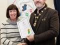 IPF President Michael O'Sullivan pictured presenting LIPF distinction to Nuala Lawlor