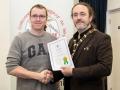IPF President Michael O'Sullivan pictured presenting LIPF distinction to Rob O'Halloran