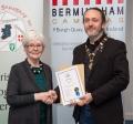 IPF President Michael O'Sullivan presenting associateship distinction to Marie Phelan