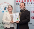 IPF President Michael O'Sullivan presenting licentiateship distinction to Velma Mercer