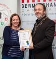 IPF President Michael O'Sullivan presenting associateship distinction to Gráinne Davies