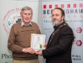 IPF President Michael O'Sullivan presenting licentiateship distinction to Michael Grant
