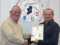 IPF Distinctions Chairman pictured presenting LIPF distinction to Roger Eager