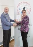 IPF Vice President Sheamus O'Donoghue presenting licentiateship distinction to Tina Kavanagh