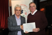 Brendan O'Sullivan presenting Raymond Hughes with runner up certificate in 3 way AV battle