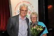 Brendan O'Sullivan presenting flowers to Lilian Webb, IPF AV Co-ordinator
