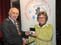 Sheamus O'Donoghue presenting Margaret Finlay with her Silver medal in the Advanced Section