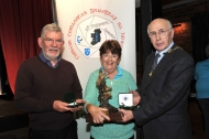 Sheamus O'Donoghue presenting Rita Nolan with her Gold medal in the Advanced & the Kieran O'Loughlin Memorial Trophy as the winner of the best overall sequence in AV2016 with Keith Leedham, judge