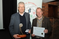 IPF President Dom Reddin presenting Pat Collins with the Silver Medal in the Novice Section and the Best Sound Production Trophy