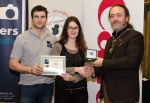 IPF President Michael O'Sullivan pictured with Michael Maher from competition sponsor Mahers Photographic and award winner Jenny Benoist