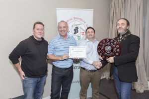 And the winners are.. IPF Shield Coordinator Joe Doyle and IPF President Michael O'Sullivan pictured with Declan Tumilty and Damien O'Malley from Dundalk Photographic Society and of course… the National Shield!